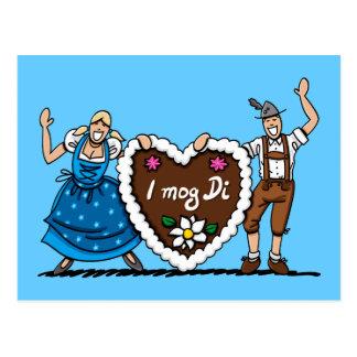 Postkarte Oktoberfest Paar-Lebkuchen-Herz