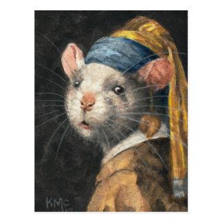 "Postkarte ""Ratte mit Malerei eines Yogie Ohrrings"""