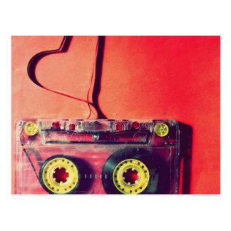 Postkarte, retro, Kassette, Liebe, Herz Postkarten