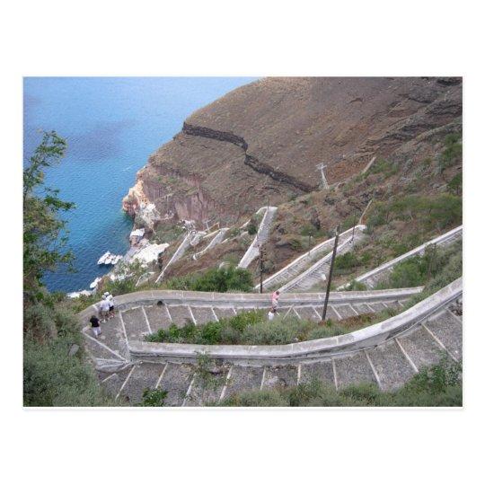 Postkarte Santorini Fira Treppe zum Hafen
