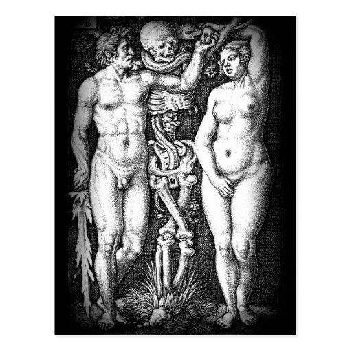Postkarte ursprünglicher Sünde Adams und Eves