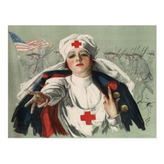Postkarte von WWII mit amerikanischem Kreuz-Druck