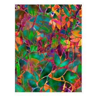 Postkarten-abstraktes beflecktes mit Blumenglas Postkarte