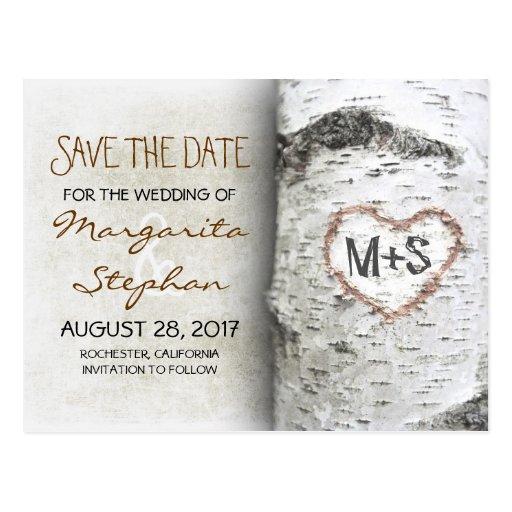 Postkarten des Birkenbaums Save the Date