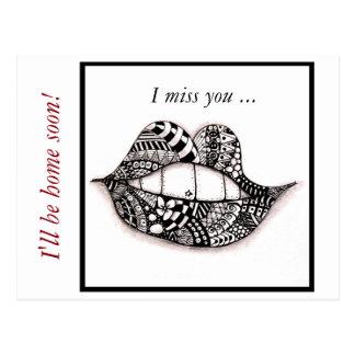 Postkarten-Gekritzel-Lippen du fehlst mir Postkarte
