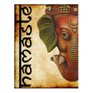 Postkarten-indischer Gott ganesha namaste Entwurf Postkarte