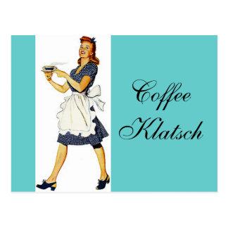 Postkarten-laden Vintager Kellnerin-Kaffee Klatsch Postkarte