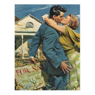 Postkarten-Retro Paare, die in bewegte neue Postkarte