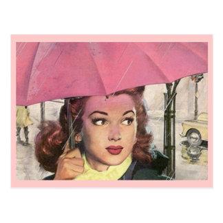 Postkarten-Retro regnerischer Tagesdusche u. ein Postkarte