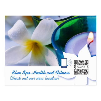 Postkarten-Schablonen-Blau-Wellness-Center Postkarte