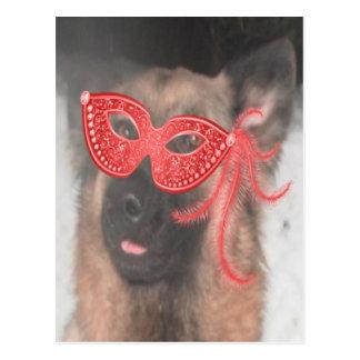 Postkarten-Schäferhund-Karneval-Masken-Rot Postkarte