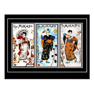 Postkarten-Vintage asiatische Kunst Mikado Postkarte