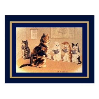 Postkarten-Vintage Katzen in der Schule Postkarte
