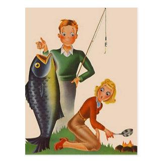 Postkarten-Vintager Fischen-Campings-Ferien PC Postkarte