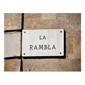 Postkarten-Zeichen LaRambla Barcelona Spanien Postkarte