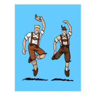 Postkartezwei tanzende Lederhosen-Bayern Postkarte