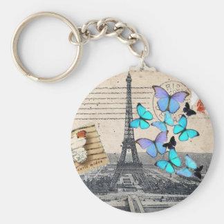 Poststempel scripts Turm Schmetterling Paris Schlüsselanhänger