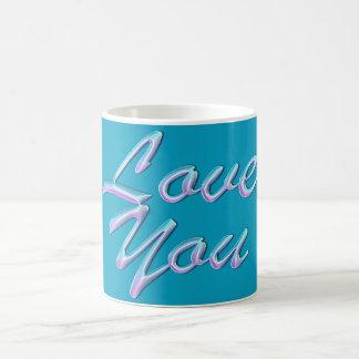 """Power fasst """"Liebe Sie"""" auf schöner blauer Tasse"""
