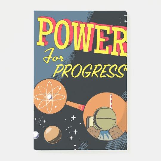Power für FortschrittsVintages Atomplakat Post-it Klebezettel