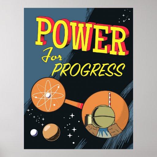 Power für FortschrittsVintages Atomplakat Poster