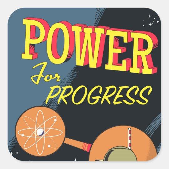 Power für FortschrittsVintages Atomplakat Quadratischer Aufkleber