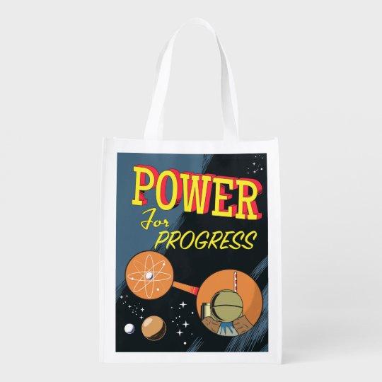 Power für FortschrittsVintages Atomplakat Wiederverwendbare Einkaufstasche