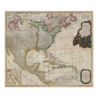 Pownell Karte 1794 von Nordamerika und von Poster