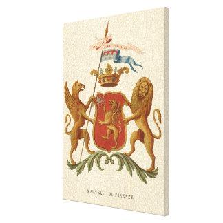 Prächtiges heraldisches Abzeichen mit Greif und Leinwanddruck
