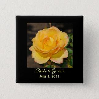 Prachtvolle Rosen-Braut u. Bräutigam-Knopf Quadratischer Button 5,1 Cm