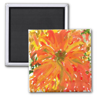 Prachtvoller orange Blumenmagnet Quadratischer Magnet