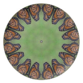 Prachtvolles Monarchfalter-Kaleidoskop Melaminteller