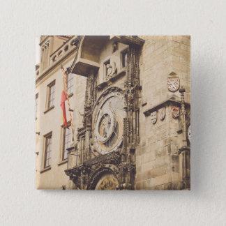 Prag, astronomische Uhr der Tschechischen Republik Quadratischer Button 5,1 Cm