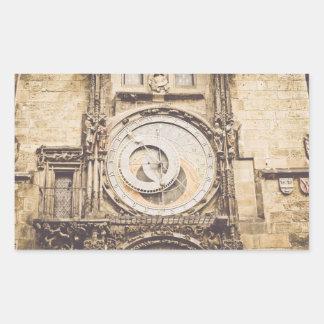 Prag, astronomische Uhr der Tschechischen Republik Rechteckiger Aufkleber