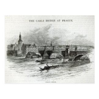 """Prag-Brücke, """"von der Freizeit-Stunde"""", 1891 Postkarte"""