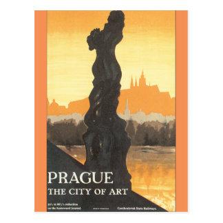 Prag die Stadt Kunst-des Vintagen Reise-Plakats Postkarte