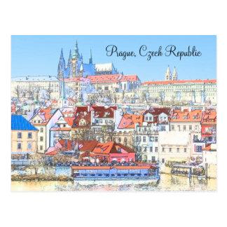 Prag in der Pastellpostkarte Postkarte