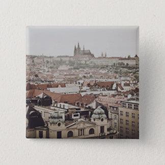 Prag-Schloss in der Stadt Tschechischer Republik Quadratischer Button 5,1 Cm