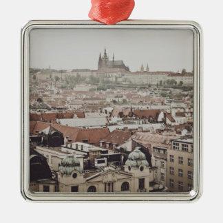 Prag-Schloss in der Stadt Tschechischer Republik Quadratisches Silberfarbenes Ornament