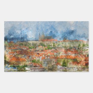 Prag-Schloss in der Tschechischen Republik Rechteckiger Aufkleber