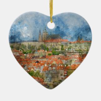 Prag-Schloss mit berühmter Charles-Brücke auf Keramik Herz-Ornament