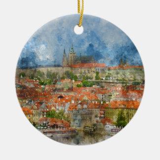 Prag-Schloss mit berühmter Charles-Brücke auf Keramik Ornament
