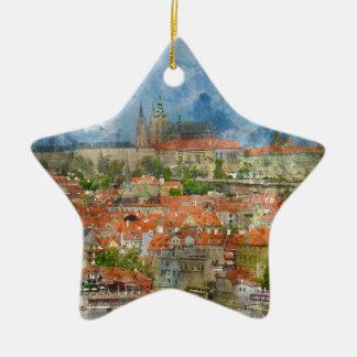Prag-Schloss mit berühmter Charles-Brücke auf Keramik Stern-Ornament
