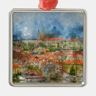Prag-Schloss mit berühmter Charles-Brücke auf Quadratisches Silberfarbenes Ornament