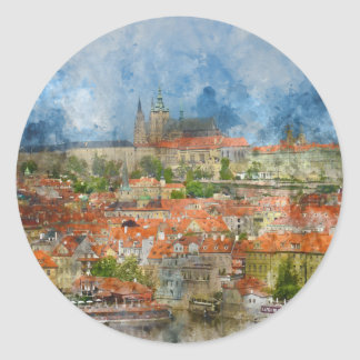 Prag-Schloss mit berühmter Charles-Brücke auf Runder Aufkleber