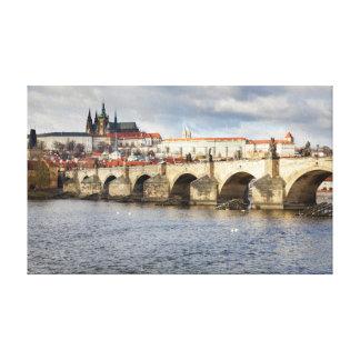 Prag-Schloss und Charles-Brückenandenken-Foto Leinwanddruck