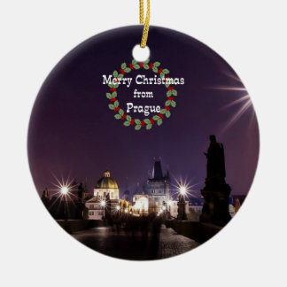 Prag-Weihnachten, Cityscape-Foto Rundes Keramik Ornament