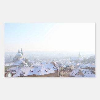 Prag-Winter-Dachspitzen Rechteckiger Aufkleber