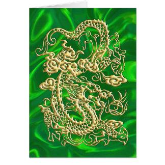 Prägeartiger Golddrache auf grünem Satin-Druck Karte
