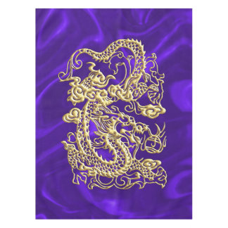 Prägeartiger Golddrache auf lila Satin-Druck Tischdecke