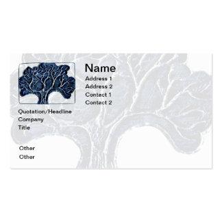 Prägeartiger Metallbaum - Blau Visitenkarten Vorlage